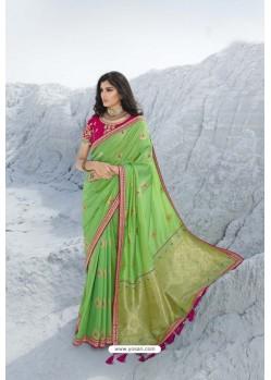 Green Latest Heavy Designer Traditional Party Wear Silk Sari