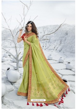 Green Latest Heavy Designer Traditional Party Wear Silk Sari