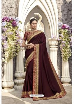 Maroon Heavy Embroidered Designer Wear Wedding Silk Sari