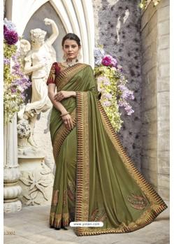 Green Heavy Embroidered Designer Wear Wedding Silk Sari