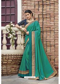 Jade Green Heavy Embroidered Designer Wear Wedding Silk Sari