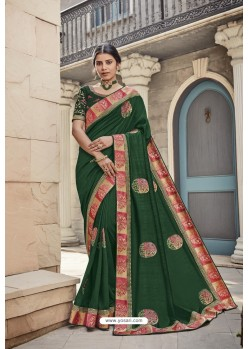 Dark Green Heavy Embroidered Designer Wear Wedding Silk Sari