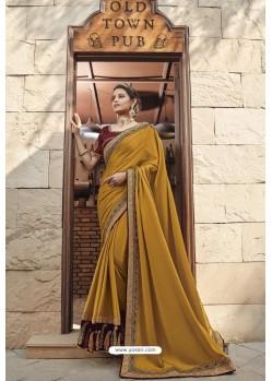 Mustard Heavy Embroidered Designer Wear Wedding Silk Sari