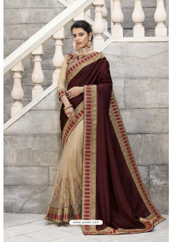 Maroon Heavy Embroidered Designer Wear Wedding Silk Sari