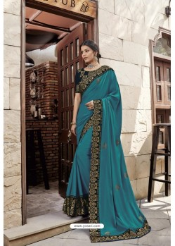 Teal Blue Heavy Embroidered Designer Wear Wedding Silk Sari
