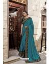 Teal Blue Heavy Embroidered Designer Wear Wedding Silk Sari