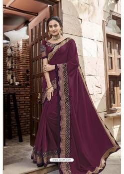 Deep Wine Heavy Embroidered Designer Wear Wedding Silk Sari
