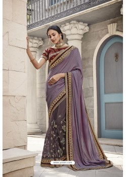 Lavender Heavy Embroidered Designer Wear Wedding Silk Sari