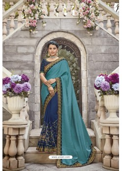 Blue Heavy Embroidered Designer Wear Wedding Silk Sari