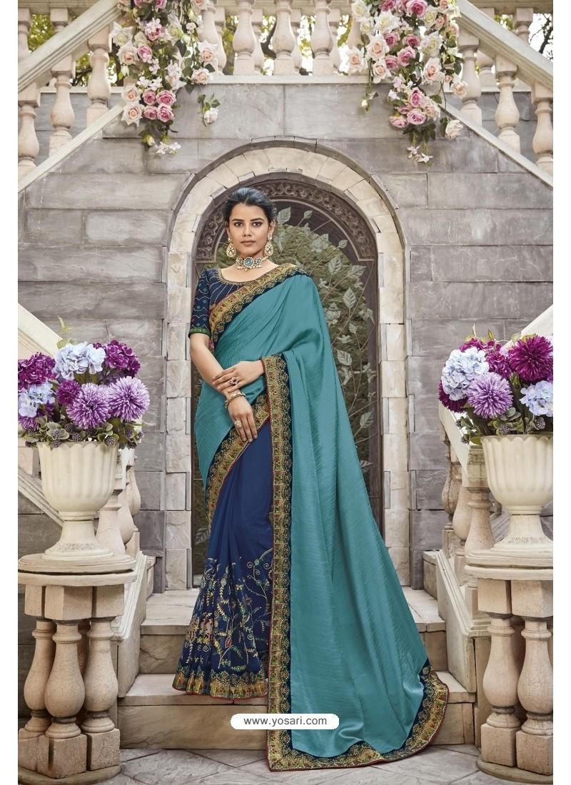 Blue Heavy Embroidered Designer Wear Wedding Silk Sari