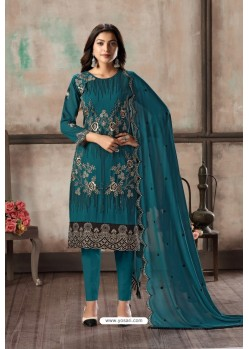 Teal Designer Embroidered Faux Georgette Straight Salwar Suit