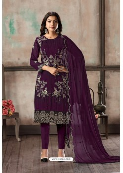 Purple Designer Embroidered Faux Georgette Straight Salwar Suit