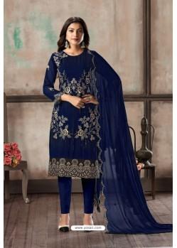 Dark Blue Designer Embroidered Faux Georgette Straight Salwar Suit