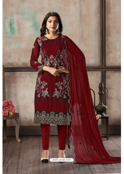 Maroon Designer Embroidered Faux Georgette Straight Salwar Suit
