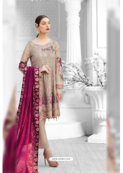 Beige Latest Heavy Designer Pakistani Style Salwar Suit