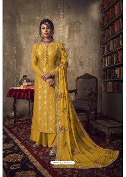 Yellow Designer Party Wear Pure Viscose Jacquard Palazzo Salwar Suit