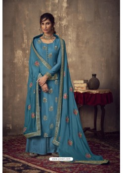 Blue Designer Party Wear Pure Viscose Jacquard Palazzo Salwar Suit