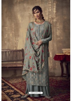 Grey Designer Party Wear Pure Viscose Jacquard Palazzo Salwar Suit