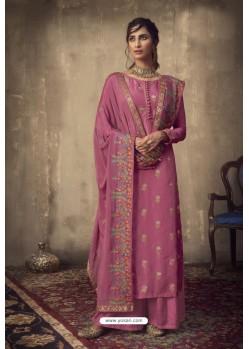 Old Rose Designer Party Wear Pure Viscose Jacquard Palazzo Salwar Suit