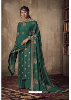 Aqua Mint Designer Party Wear Pure Viscose Jacquard Palazzo Salwar Suit