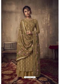 Marigold Designer Party Wear Pure Viscose Jacquard Palazzo Salwar Suit