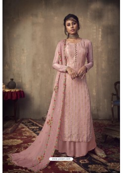 Baby Pink Designer Party Wear Pure Viscose Jacquard Palazzo Salwar Suit
