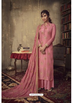 Light Red Designer Party Wear Pure Viscose Jacquard Palazzo Salwar Suit