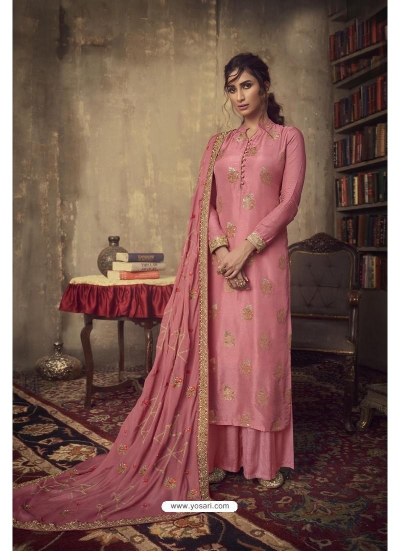 Light Red Designer Party Wear Pure Viscose Jacquard Palazzo Salwar Suit
