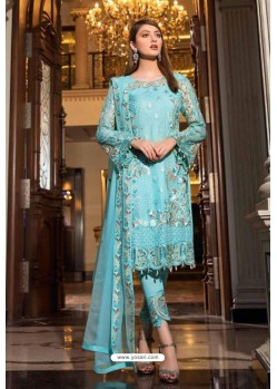 Sky Blue Latest Heavy Designer Pakistani Style Salwar Suit