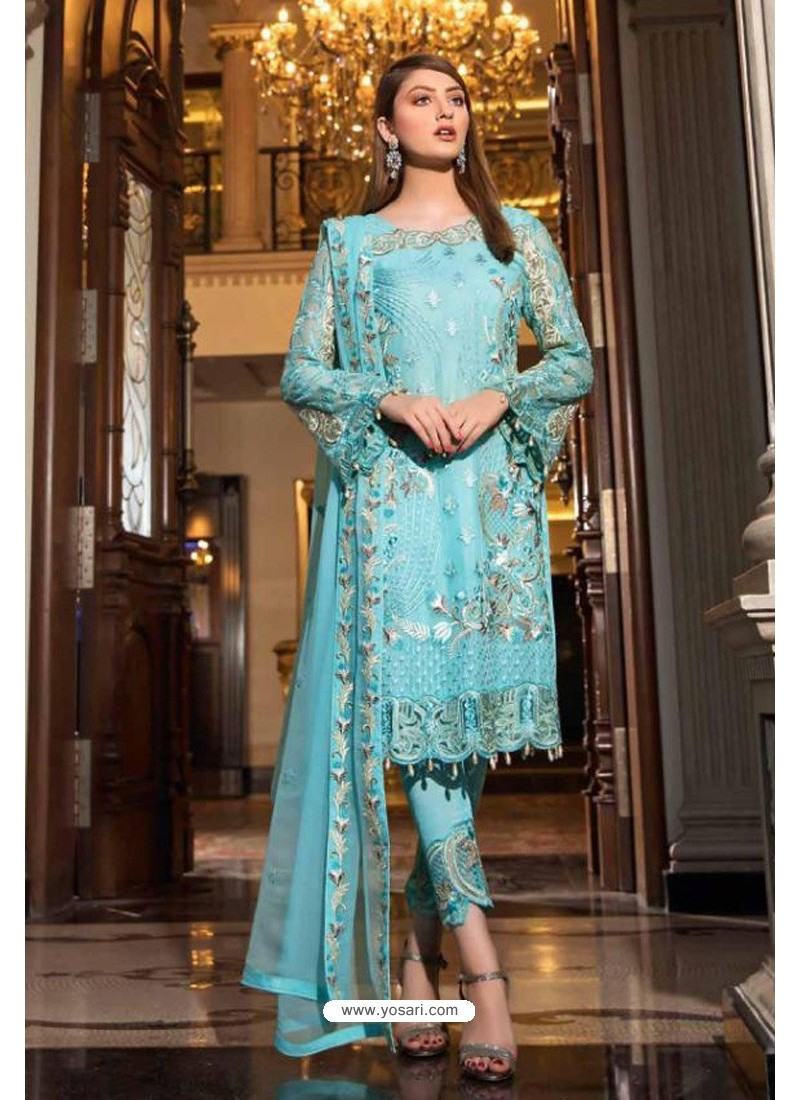 Sky Blue Latest Heavy Designer Pakistani Style Salwar Suit