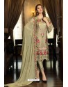 Olive Green Latest Heavy Designer Pakistani Style Salwar Suit