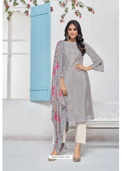 Silver Designer Chinnon Party Wear Palazzo Salwar Suit