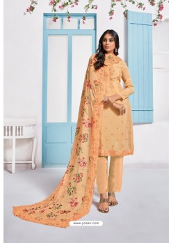 Light Orange Designer Chinnon Party Wear Palazzo Salwar Suit