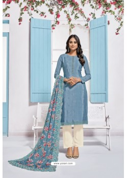 Blue Designer Chinnon Party Wear Palazzo Salwar Suit