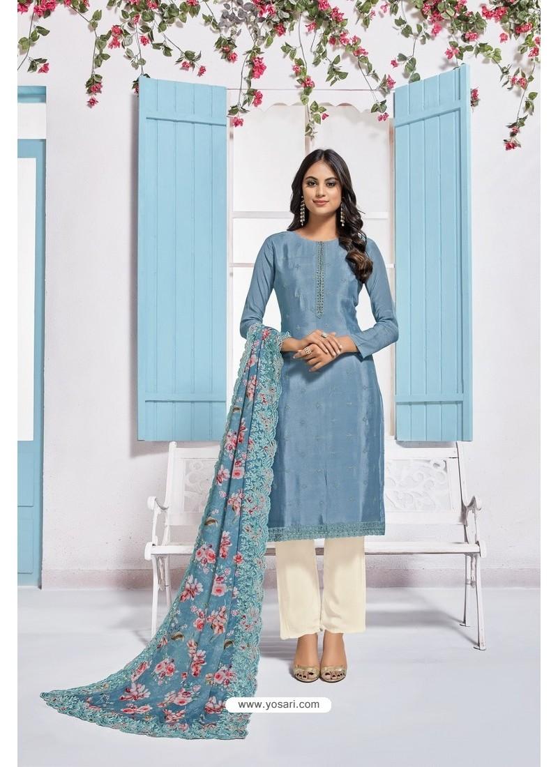 Blue Designer Chinnon Party Wear Palazzo Salwar Suit