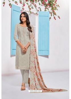 Light Grey Designer Chinnon Party Wear Palazzo Salwar Suit