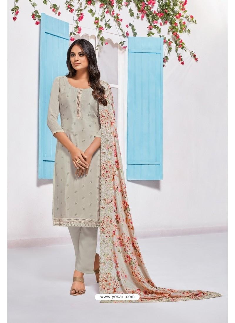 Light Grey Designer Chinnon Party Wear Palazzo Salwar Suit