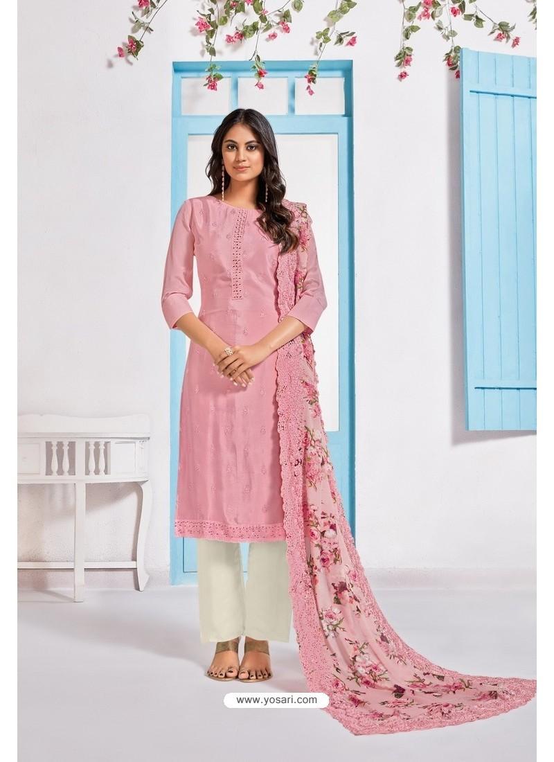 Light Pink Designer Chinnon Party Wear Palazzo Salwar Suit