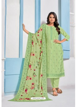Green Designer Chinnon Party Wear Palazzo Salwar Suit