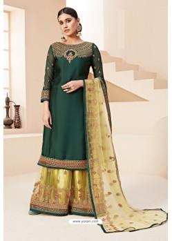 Dark Green Heavy Designer Festive Wear Georgette Sharara Suit