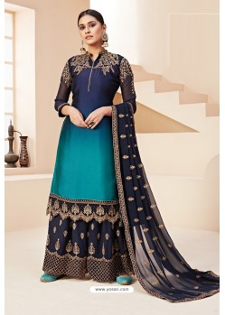 Dark Blue Heavy Designer Festive Wear Georgette Sharara Suit