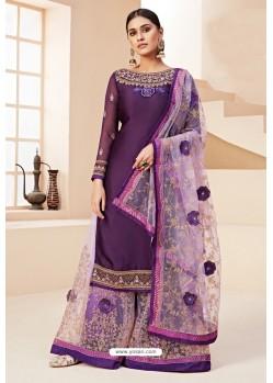 Purple Heavy Designer Festive Wear Georgette Sharara Suit