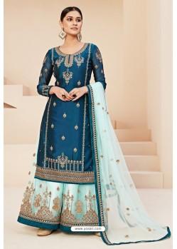 Teal Blue Heavy Designer Festive Wear Georgette Sharara Suit