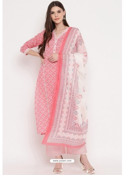 Peach Casual Wear Cotton Straight Salwar Suit