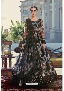 Black Latest Designer Wedding Gown Style Anarkali Suit