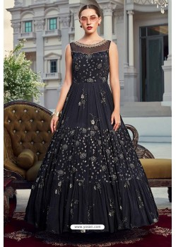 Navy Blue Latest Designer Wedding Gown Style Anarkali Suit