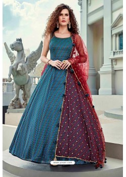 Teal Blue Latest Designer Wedding Gown Style Anarkali Suit