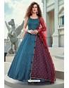 Teal Blue Latest Designer Wedding Gown Style Anarkali Suit