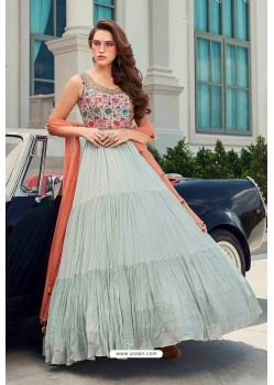 Aqua Grey Latest Designer Wedding Gown Style Anarkali Suit