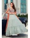 Aqua Grey Latest Designer Wedding Gown Style Anarkali Suit